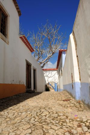 fortified: Portugal, Obidos situated in the district of Leiria is a small medieval fortified city well preserved turned into a tourist attraction. View of the typical white houses and narrow streets