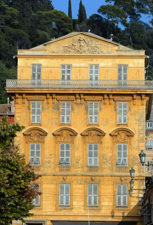 France, Nice: The French Riviera famous places. View of a typical old architecture with traditional colors