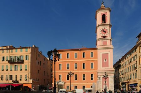 France, Nice: The French Riviera famous places. View of a typical old architecture at the market square Stok Fotoğraf