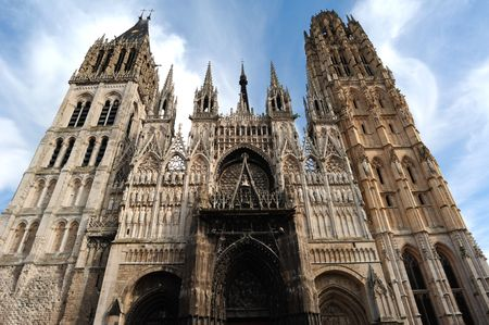 France Rouen: the gothic Cathedral of Rouen was the world�s tallest building from 1876 to 1880. The Norman cathedral contain the tomb of Richard the Lion heart Stok Fotoğraf