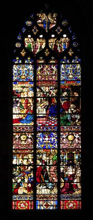 France Rouen: the gothic Cathedral of Rouen was the world's tallest building from 1876 to 1880. The Norman cathedral contains the tomb of Richard the Lion heart. View of the stained-glass window
