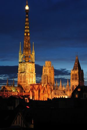 France Rouen: the gothic Cathedral of Rouen was the world�s tallest building from 1876 to 1880. The Norman cathedral contains the tomb of Richard the Lion heart. A night view of the building
