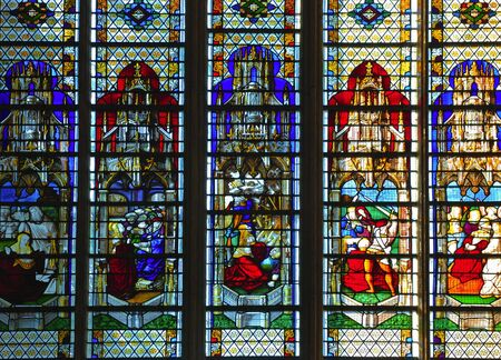 France Rouen: the gothic Cathedral of Rouen was the world�s tallest building from 1876 to 1880. The Norman cathedral contains the tomb of Richard the Lion heart. View of the stained-glass window