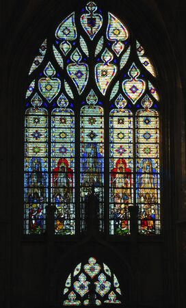 France Rouen: the gothic Cathedral of Rouen was the world's tallest building from 1876 to 1880. The Norman cathedral contains the tomb of Richard the Lion heart. View of the stained-glass windows Stok Fotoğraf - 3572017