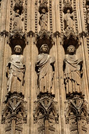 France Rouen: the gothic Cathedral of Rouen was the world�s tallest building from 1876 to 1880. The Norman cathedral contains the tomb of Richard the Lion heart. Detail of the facade  Stok Fotoğraf