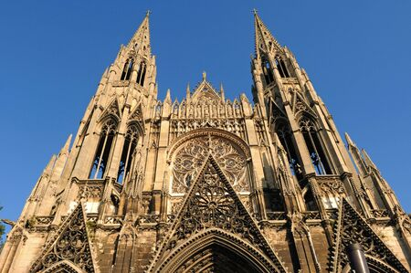 France Rouen: the gothic Cathedral of Rouen was the world's tallest building from 1876 to 1880. The Norman cathedral contains the tomb of Richard the Lion heart. Detail of the facade   Stok Fotoğraf
