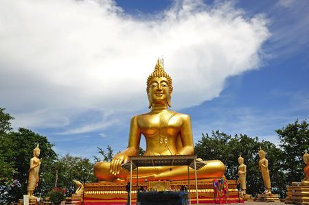 Thailand; Pattaya; view of a big seated Buddha inside the Wat Phra Yai or the temple of the Big Buddha situated near the Jomtien beach photo