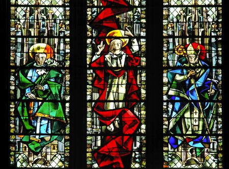 France Rouen: the gothic Cathedral of Rouen was the world�s tallest building from 1876 to 1880. The Norman cathedral contains the tomb of Richard the Lion heart. Detail of a stained-glass window