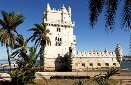 Portugal, Lisbon: the tower of Belem in late gothic style was built at the 16th century to commemorate Vasco da Gamas expedition.