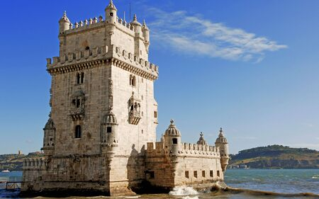 belem: Portugal, Lisbon: the tower of Belem in late gothic style was built at the 16th century to commemorate Vasco da Gamas expedition.