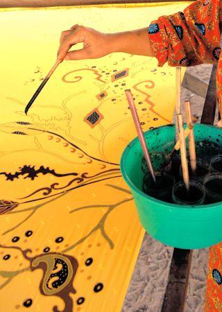 Malaysia, Kota Baru: Batik makers; traditional hand made painting for batik