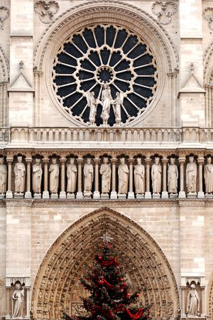 notre: France, Paris: View of Notre Dame Cathedral facade with a rose-window stained-glass