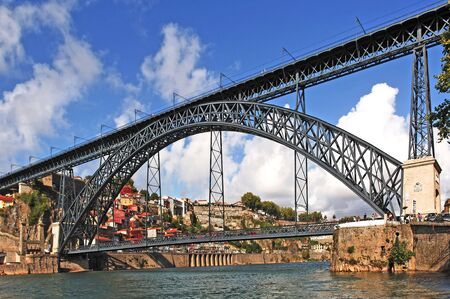 Portugal, Porto; view of the ancient city with is main rive. On the background the bridge Eiffel or D.Luis