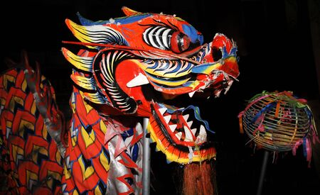 Malaysia, Borneo, Sarawak, Kutching: Chinese celebration with the traditional and mythical dragon