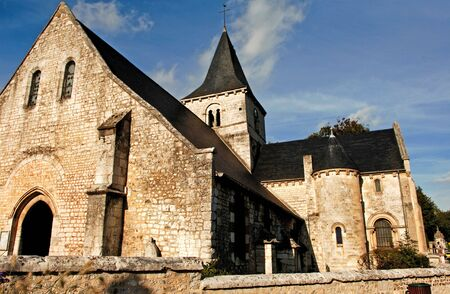 France, Normandie: The Abbaye de Saint Wandrille or the Fontenelle is a Benedictine monastery founded by Saint Wandrille in the 7th century. A view of the church Stock Photo - 3571720