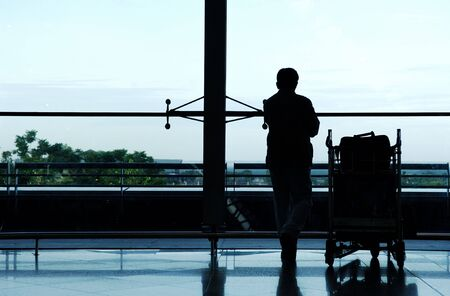 delay: Airport, passenger waiting his flight Stock Photo