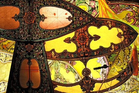 handmade traditional paper painting kites from Southeast Asia