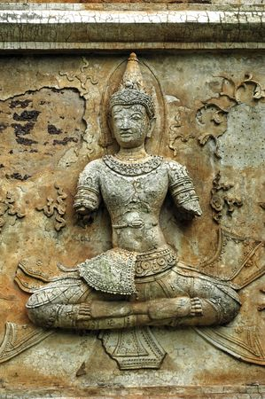 place to shine: Thailand, Chiang Mai: Chedi Luang  is one of the oldest buddhist temples in the city. Architectural detail with carved figures