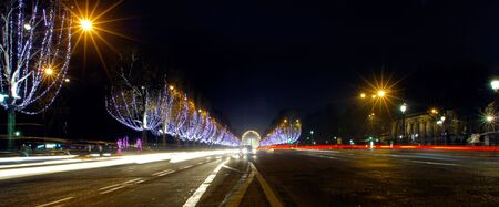 champs: France, Paris: famous place, Champs Elysees Avenue at night during christmas time