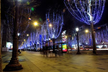 champs elysees: France, Paris: famous place, Champs Elysees Avenue at night during christmas time