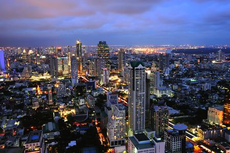In Thailand, sky view of modern Bangkok  during the sun set Stock Photo - 3572910