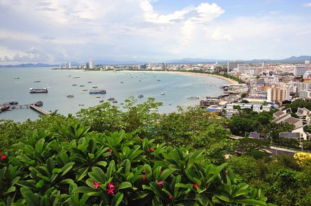 Thailand, the bay of Pattaya the formerly first beach resort is situated on the East coast two hours drive from Bangkok. Blue water and sandy beaches photo