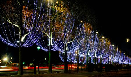 France, Paris: famous place, Champs Elysees Avenue at night during christmas time