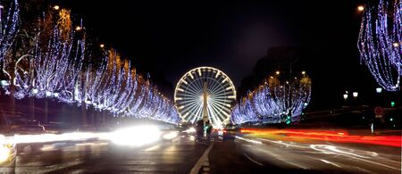 avenues: France, Paris: famous place, Champs Elysees Avenue at night during christmas time