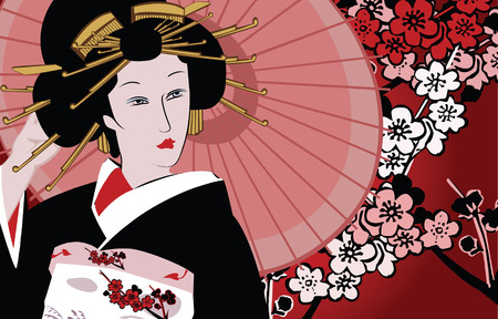 tradition traditional: vector illustration of a japanese geisha