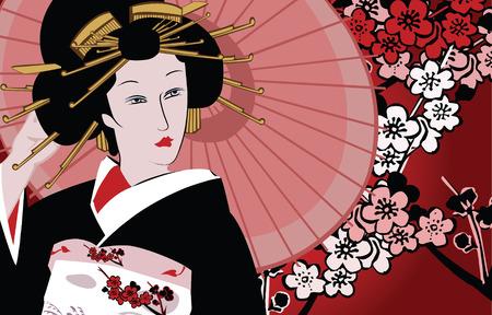 geisha kimono: vector illustration of a japanese geisha