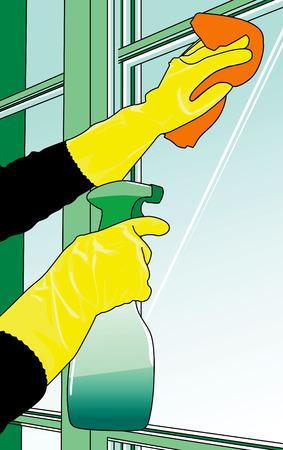 Illustrazione vettoriale di una donna di pulizia delle finestre