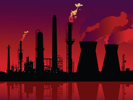 Vector illustration of a refinery and a nuclear plant