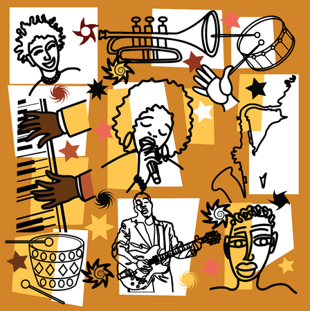 brass wind: vectorial poster collage composition for jazz illustration theme