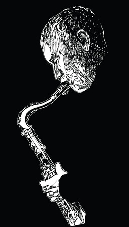 jazz music: Ink drawing vector illustration of a jazz saxophonist