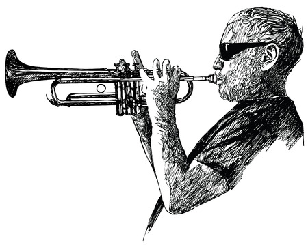 trumpet vector: Ink drawing vector illustration of a jazz trumpet player