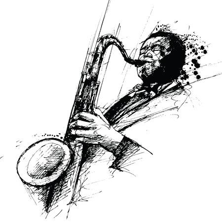 saxophone: los vectores de la representaci�n de un dibujo de tinta freehanding de un saxofonista de jazz