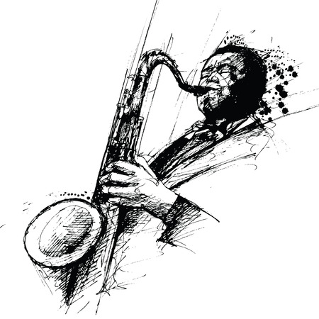 vector representation of a ink freehanding drawing of a jazz saxophonist Illustration