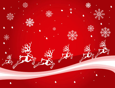 vector illustration of a christmas decoration with deers Vector