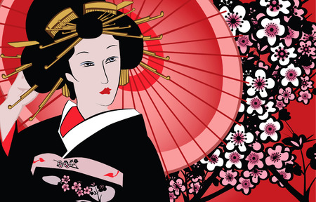 traditions: vector illustration of a japanese geisha