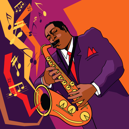 Original vector illustration of a saxophonist on stage Vectores