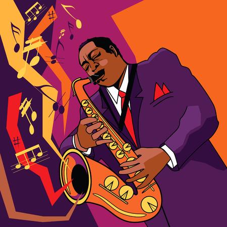 m�sico: Original ilustraci�n vectorial de un saxofonista en el escenario