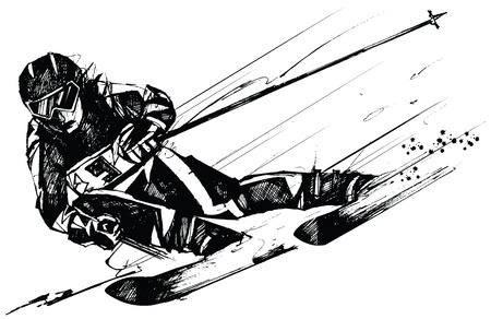 competitor: vector illustration of a ski competitor in action