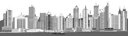 Vector illustration of a very detailed city skyline (each element can be edited) Illustration
