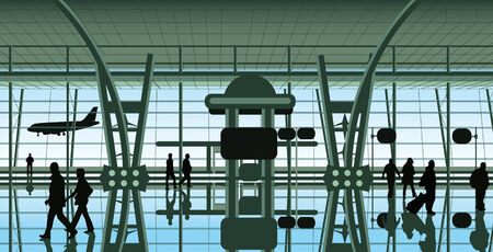 Vectorial illustration of people at the airport