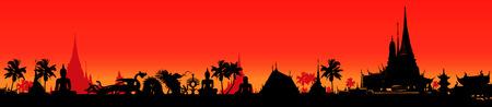 tempels: vector illustratie van een panoramisch versiering op Thailand