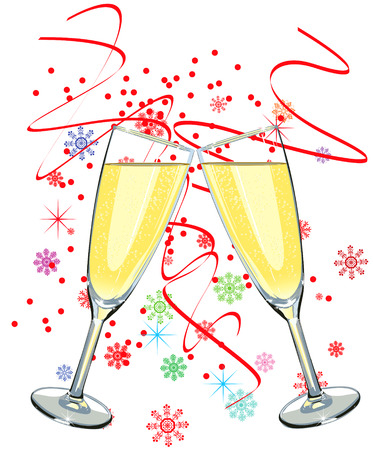 champagne flute: Vector illustration of two glass of champagne