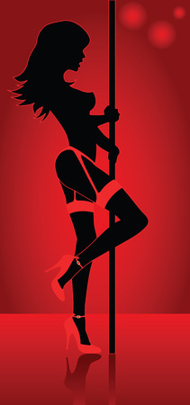 Beautiful stripper with high heel red shoes and suggestive garter Illustration