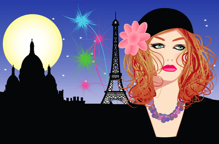 Vector illustration of a young woman with hat in Paris Vector