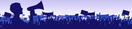 Illustration of a young woman leading a demonstration with a megaphone