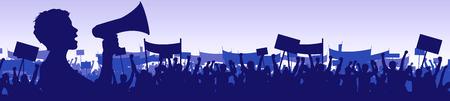 manifestacion: Ilustraci�n de un joven l�der de una manifestaci�n con un meg�fono